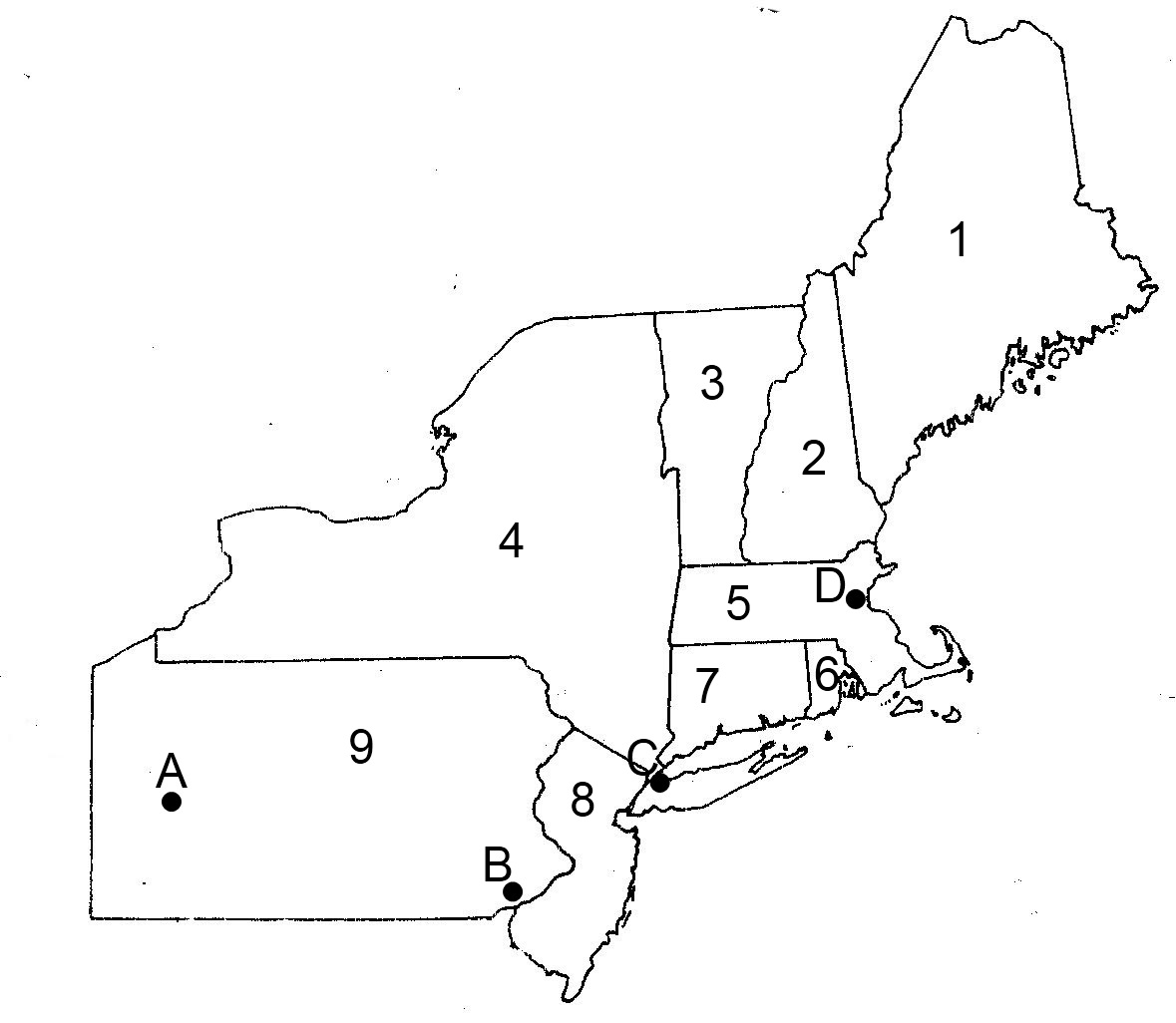 States Quiz - Northeast region us map